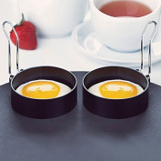 2pcs Nonstick Stainless Steel Handle Round Egg Rings Shape Pancakes Moulds Ring 7.5cm Diameter