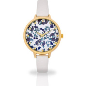 Women's Floral Dial White Watch, Faux Leather Band