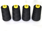 CW TEXTILE 4 Pack Of 6000 Yard Black 100% Spun Polyester Sewing Threads Spool(402)For Both Hand Sewing And Sewing Machine Serger Sewing Machine