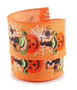 Jack O Lantern Halloween Themed Linen Wired Ribbon #100cm - 6.4cm x 10 yards