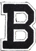 Black B letter Patch Symbol Jacket T-shirt Patch Sew Iron on Embroidered Sign Badge Costume. 4.1cm x 5.1cm .