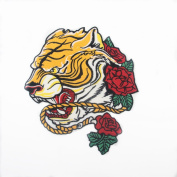 Big Tiger Patch with Flower Iron On Embroidered Applique Sequin Decoration Patches DIY Sew on Patch for Jeans, Clothing,Shoes(25cm X 22cm )