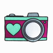 Camera With Heart Pink and Mint Embroidered Clothing Patch