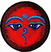 Eye Om Hindu Buddha buddhist trance yoga retro boho hippie patch patch Symbol Jacket T-shirt Patch Sew Iron on Embroidered Sign Badge Costume. 7.6cm x 7.6cm .