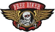 Papapatch Free Biker Skull Wings Dead Bone Skeleton Horror Biker Punk Rock Ride Motorcycle Jacket Applique Embroidered Sew on Iron on Patch