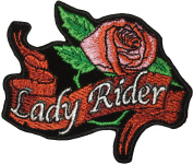 Papapatch Lady Rider Pink Rose Flower Biker Motorcycle Female Choppers Jacket Costume Sign Sew on Iron on Embroidered Patch