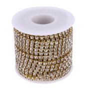 Crystal Rhinestone Close Chain, 10Yards/Roll Clear Crystal Silver Gold Base Ornaments Rhinestone Chains by TTnight