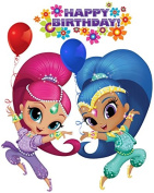 Shimmer and Shine - Birthday - For Dark-Coloured Materials - Iron On Heat Transfer 15cm x 19cm