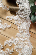 15cm Width Ivory Corded Embroidery Lace Bridal Wedding Chest Veils Dress Decor by 1 Yard