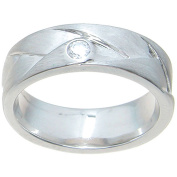 Round-Cut CZ Accent Sterling Silver Venetian Polish 6.5mm Cross-Over Style Wedding Band