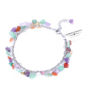 Stunning Stone Chips on Stainless Steel 20cm Anklet with 5.1cm Extender