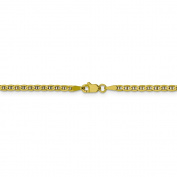 10 Inch 10k Yellow Gold 3 mm Flat Bevelled Curb Link Chain Anklet - 10 Inch