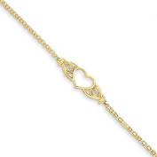 14k Yellow Gold 25cm Polished Antiqued Heart Anklet