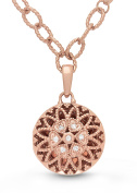 Rose Gold Diamond Round Filigree Locket Bracelet/Anklet The Elaine by With You Lockets