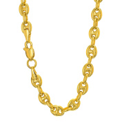 """14k Yellow Gold 4.7 mm Puffed Mariner Anklet 10"""" Lobster Claw Clasp"""