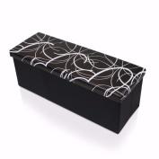 Otto & Ben BPP-OT-45S-BL Swirl Design Storage Ottoman with Faux Leather, Black