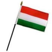 Hungary 10cm x 15cm Flag Desk Set Table Stick Gold Base