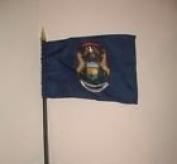 Michigan State Flag 10cm x 15cm Desk Table Stick