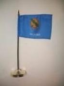 Oklahoma State Flag 10cm x 15cm Desk Set Table Stick Gold Base