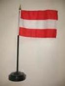 Austria Flag 10cm x 15cm Desk Set Table Stick Black Base