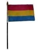 Gay Pride Pansexual Rainbow Flag 10cm x 15cm Desk Set Table Stick Gold Base