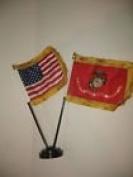 Miniature U.S. Marine Corps and American Flag Desk Set Table Stick