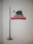 California Republic State Flag 10cm x 15cm Desk Set Table Stick Gold Base