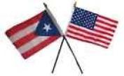 Puerto Rico w/ USA American Flag 10cm x 15cm Desk Set Table Stick Gold Base