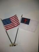USA American w/ Christ Christian Flag 10cm x 15cm Desk Set Table Stick Gold Base