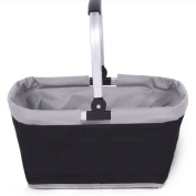 Brooke & Celine Shopping Baskets with Handles Collapsible Grocery Shopping Bag - Black