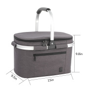 ALLCAMP Large Size Insulated cooler bag Folding Collapsible 22L Picnic Basket Cooler with Sewn in Frame