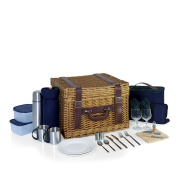 PICNIC TIME 'Canterbury' English Style Picnic Basket with Deluxe Service for Two, Navy with Green Tartan