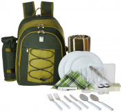 ALLCAMP Picnic Backpack for 4 Person with Cooler Compartment, Detachable Bottle/Wine Holder, Fleece Blanket, Plates and Cutlery Set, Green