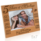 Kate Posh - 5 Years of Marriage Photo Frame - Happy 5th Anniversary Gift Wood - Engraved Natural Solid Wood Picture Frame