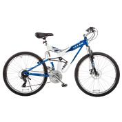 TITAN Fusion Dual Suspension Mountain Bicycle, 21-Speeds, Blue and White