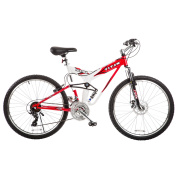 TITAN Fusion Dual Suspension Mountain Bicycle, 21-Speeds, Red and White