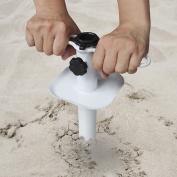 Ammsun Metal Sand Anchor Auger Screw Universal Sandgrabber for Beach Umbrella Heavy Duty White