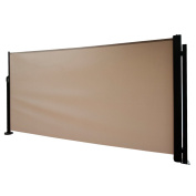 Abba Patio Retractable Folding Screen Privacy Divider with Steel Pole, 1.6mH, Beige