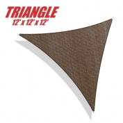 ColourTree 3.7m x 3.7m x 3.7m Sun Shade Sail Canopy Triangle Brown - Commercial Standard Heavy Duty - 160 GSM - 4 Years Warranty
