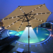LEESONS 24 LED 12000 Lux Cordless Clamp Light Lamp For 8 9 10 4m Outdoor Patio Umbrella