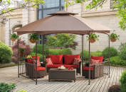 Sunjoy D-GZ076PST-D 11.4' X 13.2' Madison Pavilion Hex Shape Soft Top Gazebo with Serving Shelf