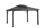 Sunjoy D-GZ840PST-E 3m x 3.7m Galvanised Steel Hardtop Gazebo - Black Top