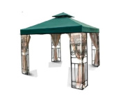 Flexzion 3mx3m Gazebo Replacement Canopy Top Cover (Green) - Dual Tier with Plain Edge Polyester UV30 Water Resistant for Outdoor Garden Patio Pavilion Sun Shade