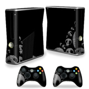 Skin Decal Wrap Cover for Xbox 360 S Slim + 2 controllers Skull Attack