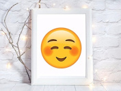 shy face emoji face gift a4 glossy print poster UNFRAMED picture gift wall art