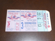 1958 NEW YORK YANKEES WORLD SERIES TICKET STUB GAME 3 EX-MINT PLUS