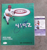 PETE ROSE REDS - RECORD 4192 ALL-TIME HIT programme - POSTMARKED AUTOGRAPHED JSA