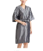 Beauty Salon Straight Strip Gown Robes Hairdressing Gown for Clients, Grey