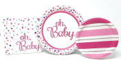 PartyDeiz Baby Shower Party Supplies Pack for 15 Guests Pink Girl- Including 15 Dinner Plates, 18 Dessert Plates and 30 Napkins