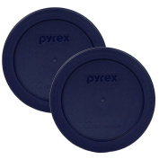 Pyrex Blue 2 Cup Round Storage Cover #7200-PC for Glass Bowls 2-Pack